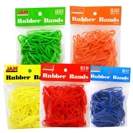JAM Paper Rubber Bands, #33 Size, Assorted Rubberbands, 500/pack