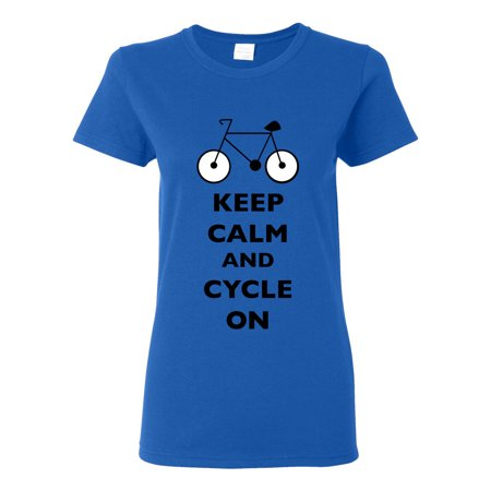 Ladies Keep Calm And Cycle On Cycling Bike Bicycle Funny DT T-Shirt Tee ()