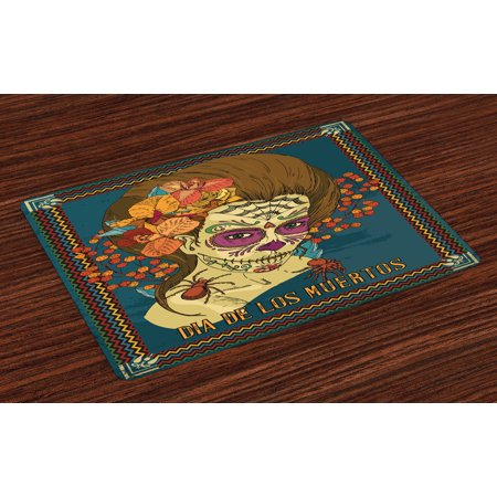 Day Of The Dead Placemats Set of 4 Dia de Los Muertos Skull Girl with Roses Hearts Print, Washable Fabric Place Mats for Dining Room Kitchen Table Decor,Petrol Blue Caramel (Blue Caramel)