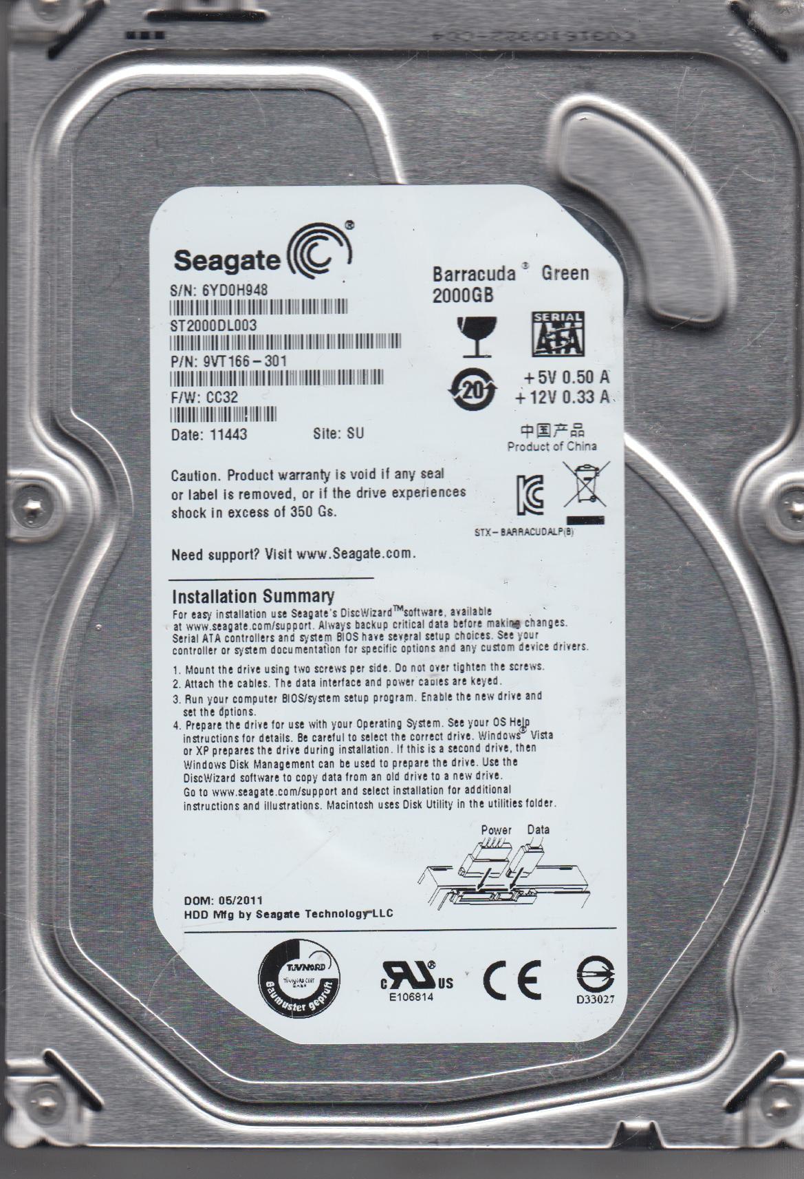 ST2000DL003, 6YD, SU, PN 9VT166-301, FW CC32, Seagate 2TB SATA 3.5 Hard Drive by Seagate