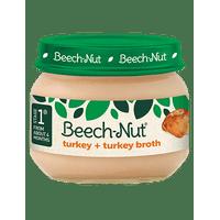 (10 Jars) Beech-Nut Baby Food Jar, Stage 1, Turkey & Turkey Broth, 2.5 oz