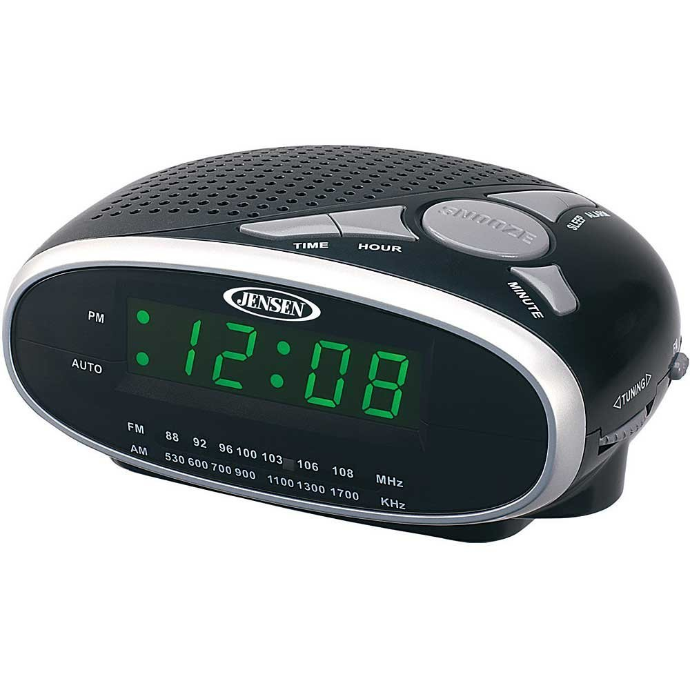 Jensen Compact AM/FM Alarm Clock Radio with Auxiliary Input & Large Easy to Read Backlit LED Display