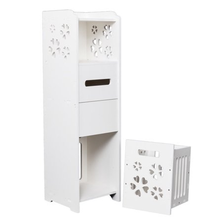 Ktaxon Slim Bathroom Storage Cabinet Toilet Floor Standing Narrow Cupboard Shelf White