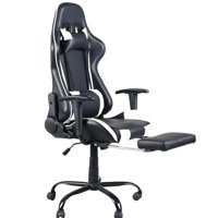 Ktaxon Office Chair High Back Swivel Chair Racing Gaming Chair Office Chair with Footrest Tier Black & White