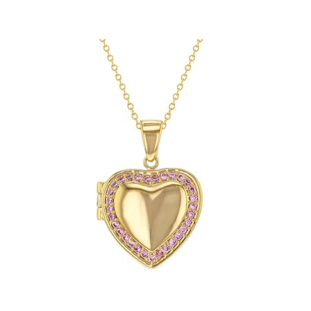 18k Gold Plated Pink Crystal Heart Shaped Photo Locket Pendant Necklace (Fan Shaped Designer Necklace)
