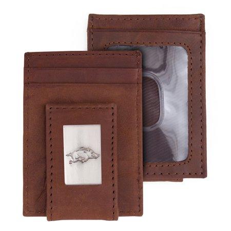 Arkansas Razorbacks Leather Front Pocket Wallet - Brown - No Size (Arkansas Razorbacks Leather)