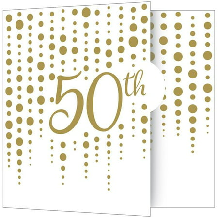 Creative Converting 340543 Gold 50th Anniversary Invitations, 8 Count (50th Invitation)