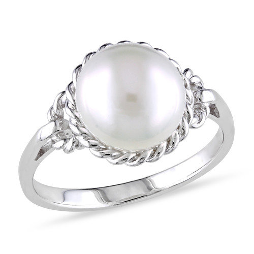 Amour Sterling Silver Round Cut Cultured Pearl Fashion Ring
