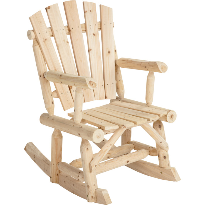 Outdoor Log Adirondack Rocker / Rocking Chair - Natural Wood