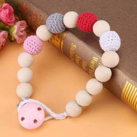 Feeding Clip - VGEBY Infant Pacifier Soother Holder Crochet Wooden Beads Chain Metal Clip Baby Shower Feeding Toy, Pacifier Strap, Pacifier Clip