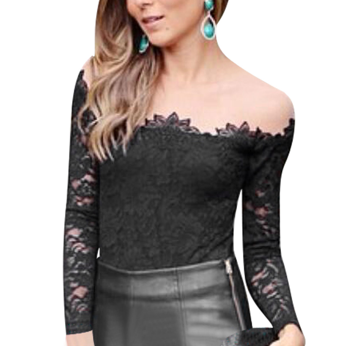 Allegra K Women's Pullover Mesh Panel Semi Sheer Long Sleeves Lace Tops Black (Size M / 8)