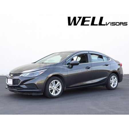 WellVisors Side Rain Guard Window Visors Deflectors With Chrome Trim For 16-Up Chevrolet Cruze 4Dr Sedan 2016 2017 16 17 Chevy