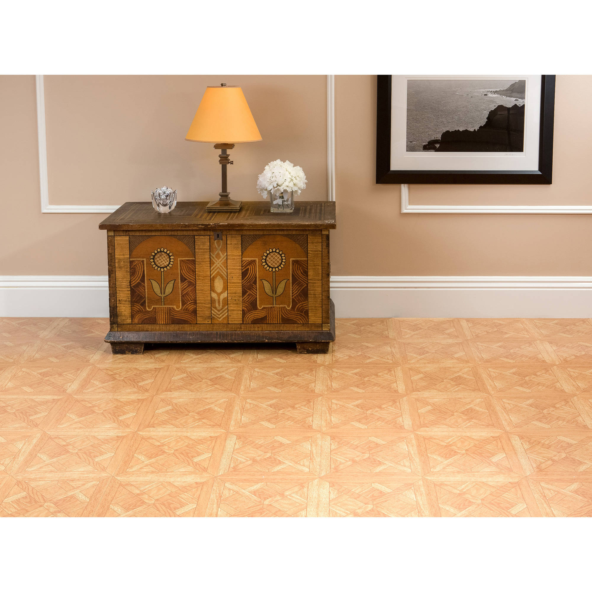 Tivoli classic parquet oak 12x12 self adhesive vinyl floor tile 45 tivoli classic parquet oak 12x12 self adhesive vinyl floor tile 45 tiles45 sqft walmart dailygadgetfo Choice Image