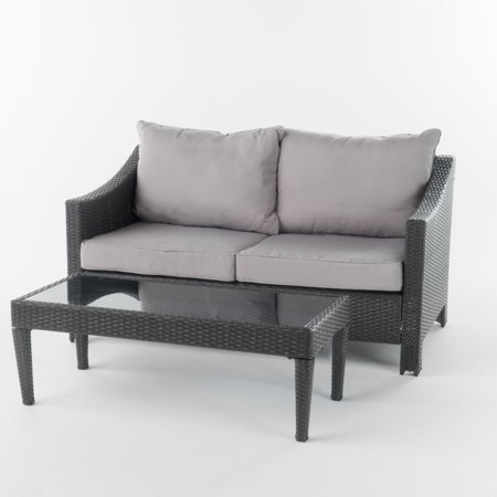 Cortez Outdoor Wicker Loveseat And Table W Water