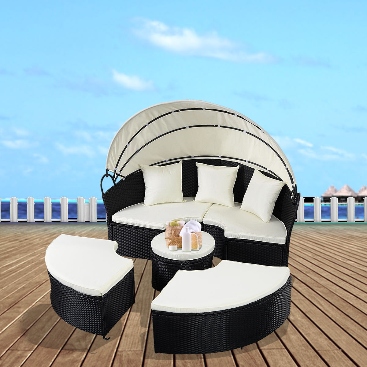 Costway Day Bed Patio Sofa Furniture Round Retractable Canopy Wicker Rattan Outdoor by Costway