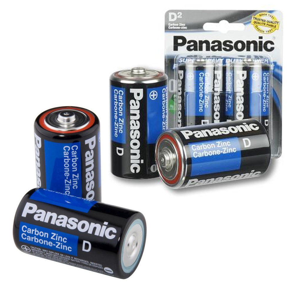 4 X Panasonic D Batteries Super Heavy Duty Carbon Zinc Battery 1.5V EXP. 2022