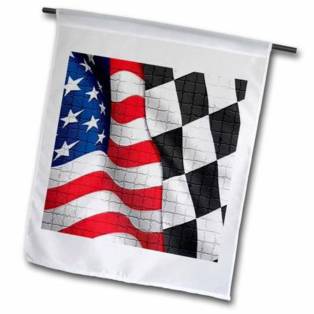 3dRose American Checker Flag - Garden Flag, 12 by 18-inch - Checkered Flag Paper
