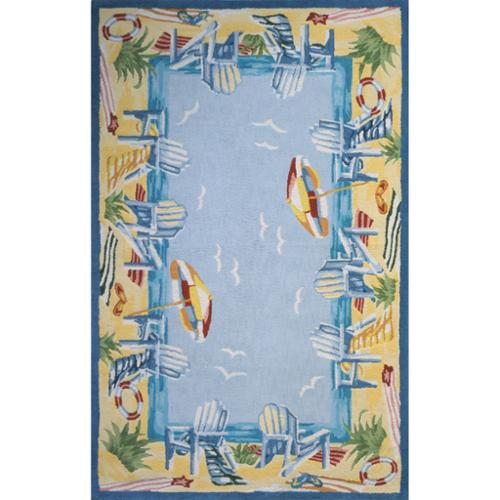 Momeni Ocean Light Blue Hand-hooked Cotton Rug (2' x 3')