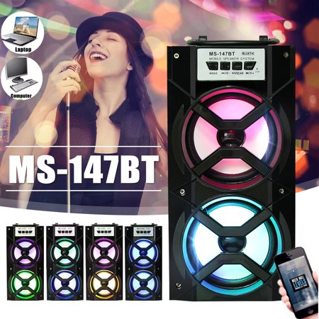 Wireless Dual Horns Portable Hi Fi Stereo Outdoor LED bluetooth Sound Party Speaker MP3 FM Radio w/ USB TF AUX  LED DJ Lights For Cellphone PC With handle Party Portable Bluetooth