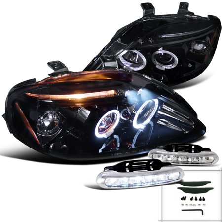 Spec-D Tuning For 1999-2000 Honda Civic Projector Headlights New Piano Black W/Led Driving Fog (Left + Right) 1999 2000 (Halo Headlights Honda Civic 2000)