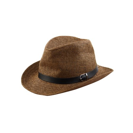Cowboy Hat for Men Summer Outdoor Straw Braided Sunhat Coffee Color