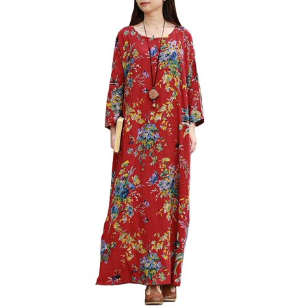 fc948657e88 ZANZEA - Women s Dresses Loose Floral Printed Long Sleeve Maxi Dress -  Walmart.com
