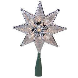 "8"""" Silver Mosaic 8-Point Star Christmas Tree Topper - Clear Lights"