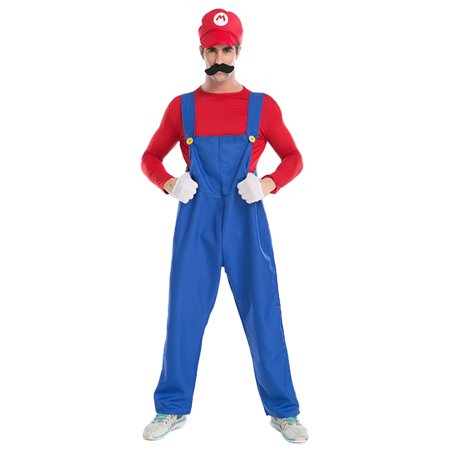 Sue&Joe Men's Super Mario Costume Adult Cosplay Costume Mario Brothers Halloween - Average Joe's Gym Halloween Costume