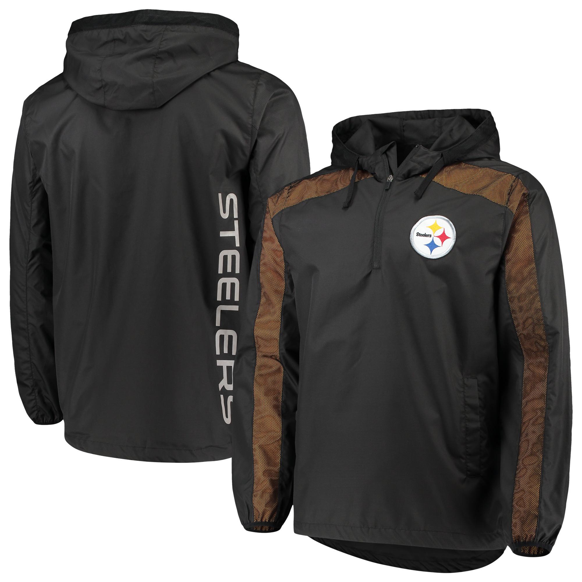 Pittsburgh Steelers G-III Sports by Carl Banks Lineup Hooded Half-Zip Jacket - Black - M