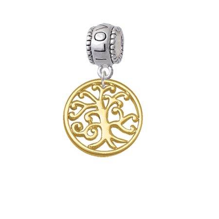 Gold Tone Tree Of Life Cutout   I Love You Charm Bead