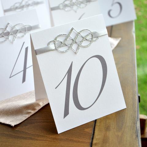 Table Numbers 1-10. Table Number Tents Silver. Table Numbers for Wedding 1-10. Winter Wedding Decorations.