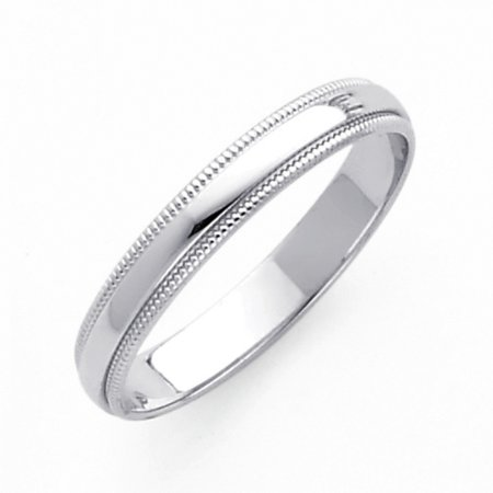 FB Jewels 14K White Gold 3mm Solid Domed Migraine Traditional Comfort Fit Plain Wedding Ring Band Size 11