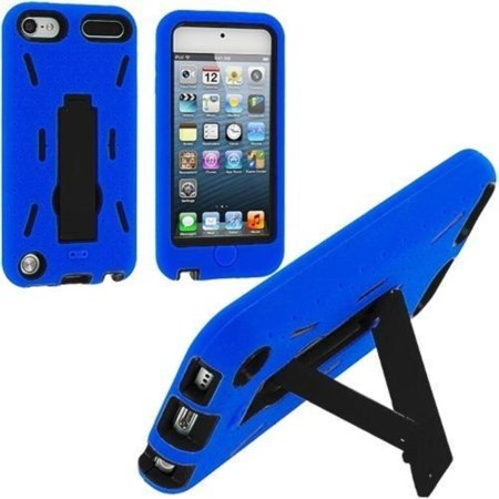 iPod Touch 5 6 Gen - HARD & SOFT RUBBER HYBRID CASE COVER BLUE BLACK KICK STAND, Protect your phone with style through this sleek case. Provides.., By EpicDealz,USA ()