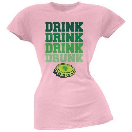 St. Patricks Day - Drink Drink Drunk Light Pink Soft Juniors T-Shirt