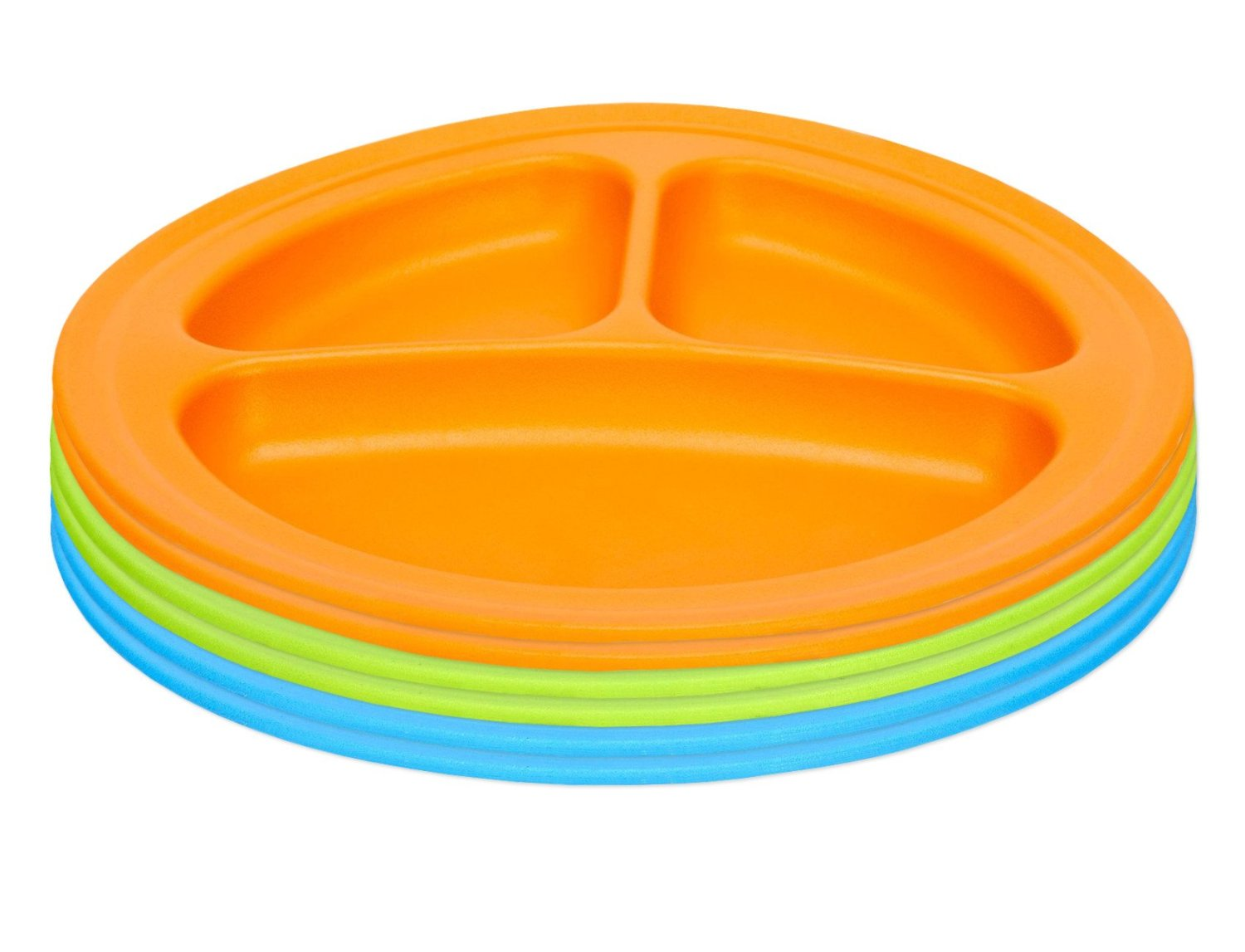 Green Eats Divided Feeding Plate, 6 Count, Blue Green Orange by Green Eats