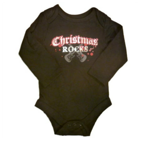 Baby Glam Infant Boys   Girls Bling Creeper Christmas Rocks Onesie Black Shirt