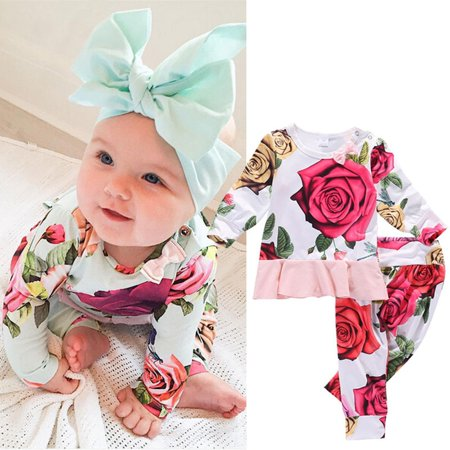 Baby Girls 2pcs Clothes Newborn Toddler Infant T-shirt Tops+Pants Outfits Set