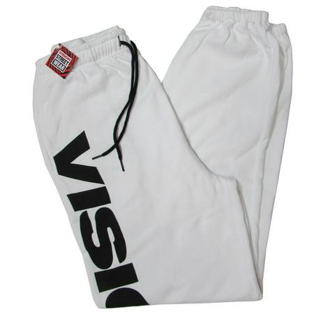 Vision Street Wear Unisex Fleece Sweatpants Athletic Wear, White/Black, Size XS
