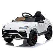 12 V Ride on Toys With Remote, URHOMEPRO 12V Kids Electric Ride On Car for Boys Girls, Battery Powered Power 4 Wheels Vehicles with Remote Control, LED Lights, Music, Horn, Kids Gifts, White, W12690