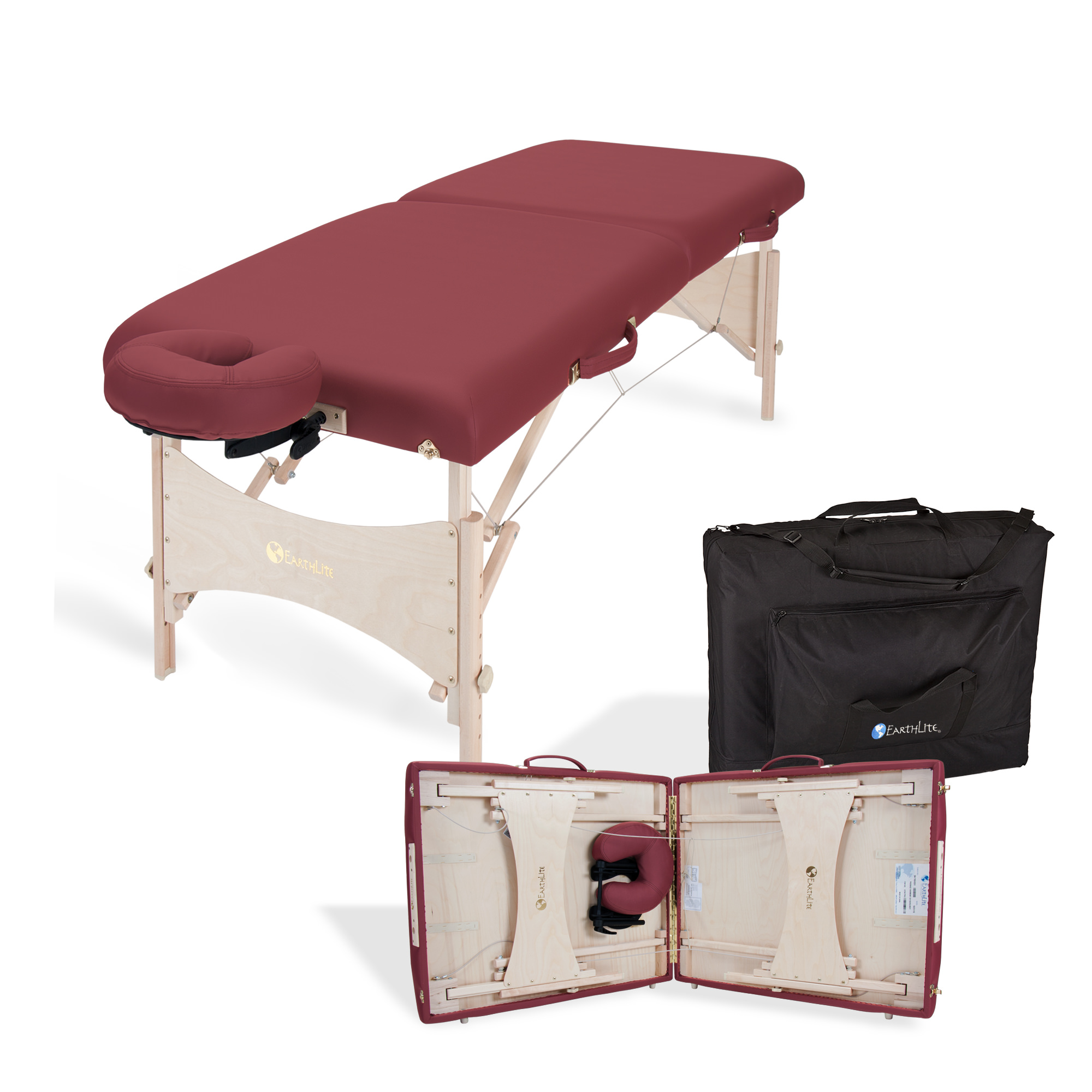 EARTHLITE Harmony DX Portable Massage Table Package xe2x80x93 Eco-Friendly Design, Deluxe Adjustable Headrest, Hard Maple, Aircraft Quality, up to 600 lbs