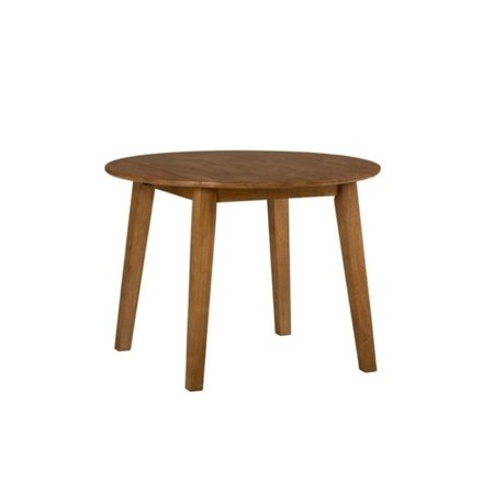 Bowery Hill Round Wood Dropleaf Dining Table in (Leather Wood Honey)