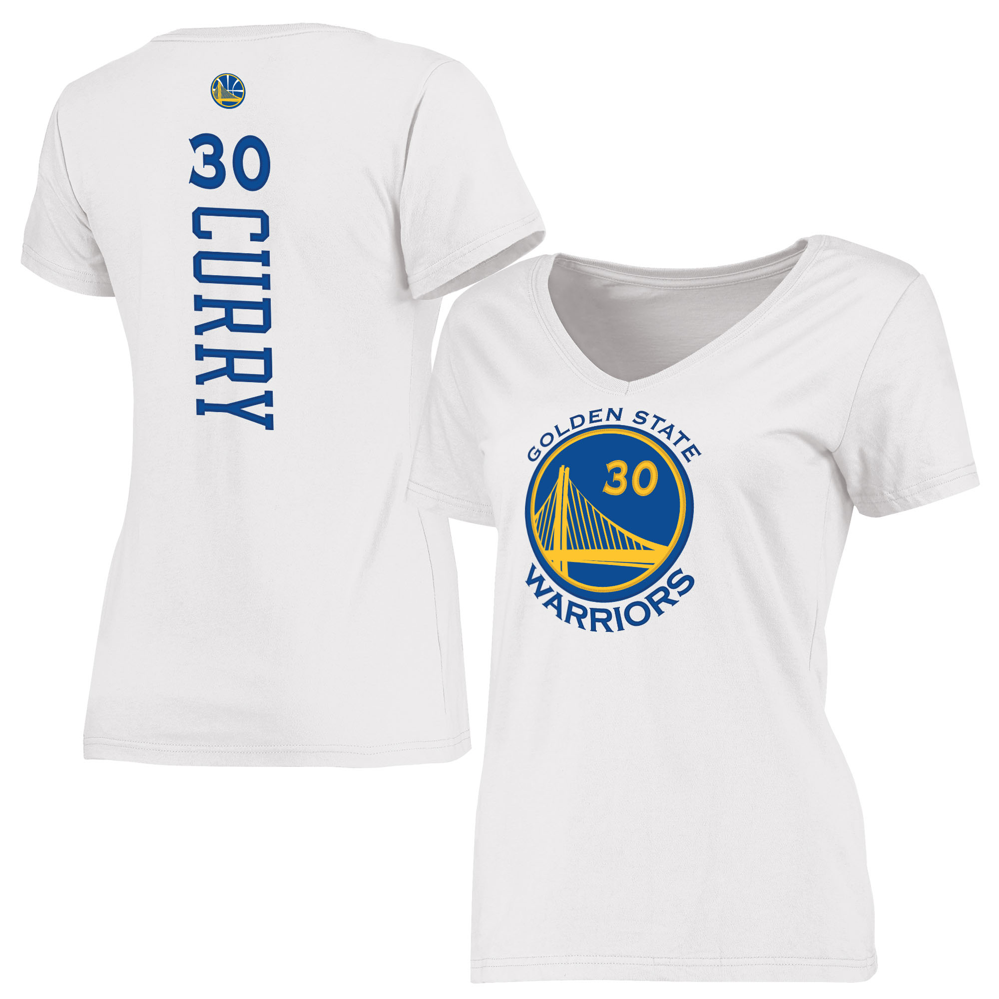 Stephen Curry Golden State Warriors Women's Backer Classic Fit Name & Number T-Shirt - White