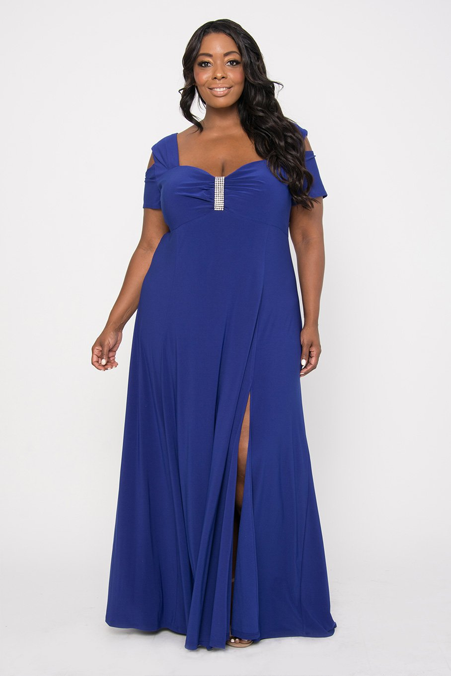 R&M Richards Long Plus Size Formal Stretchy Dress