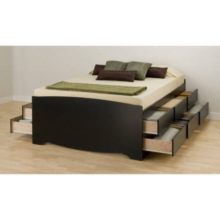 Tall Queen Captains Platform Storage Bed with 12 Drawers,