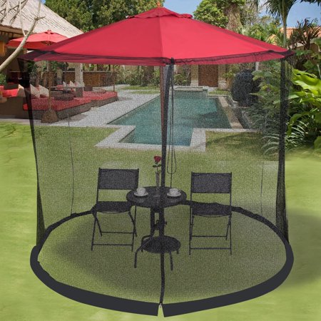 Outdoor 9/10FT Umbrella Table Screen Mosquito Bug Insect Net OP3306 ()