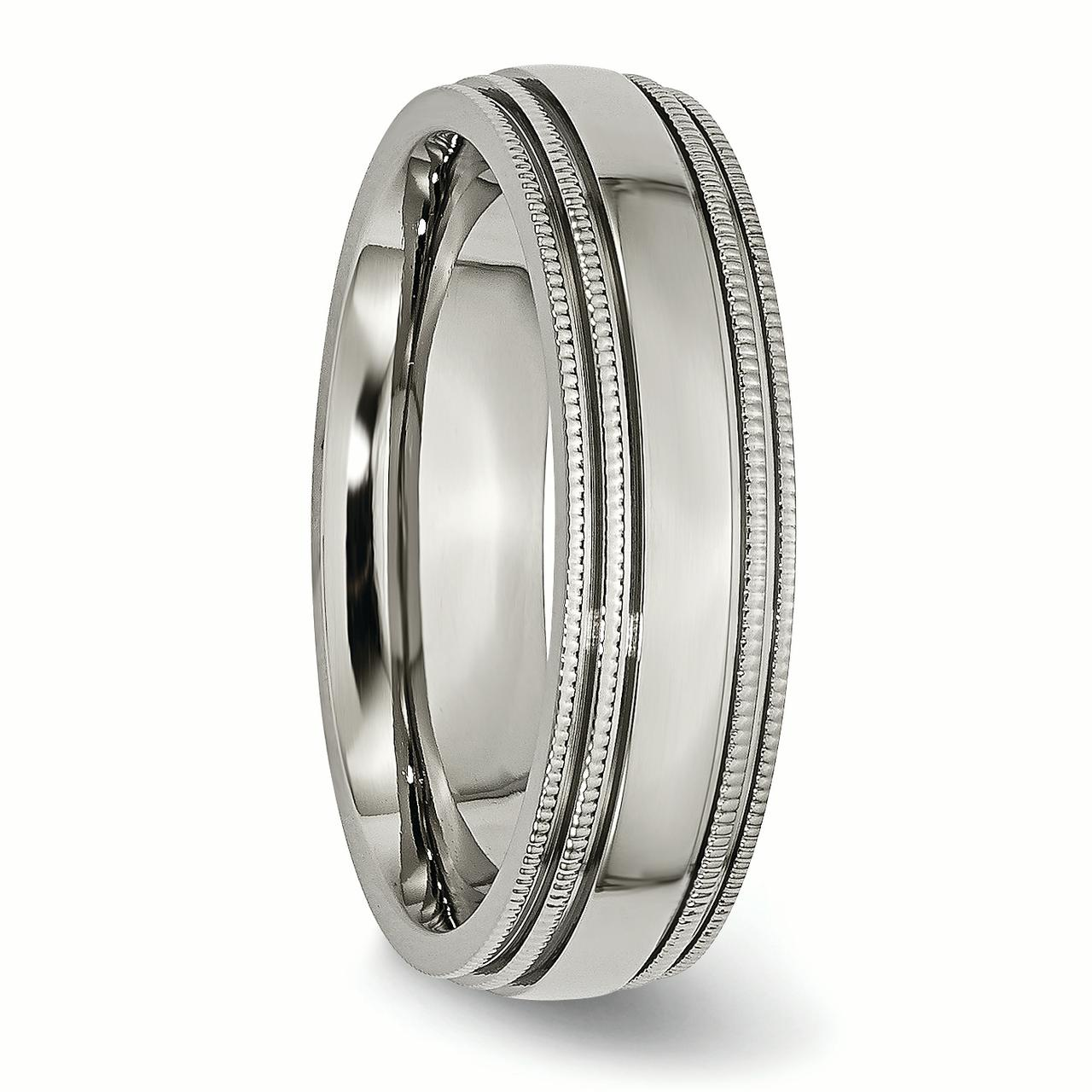 Titanium Grooved and Beaded Edge 6mm Polished Band Ring 8 Size - image 2 de 6