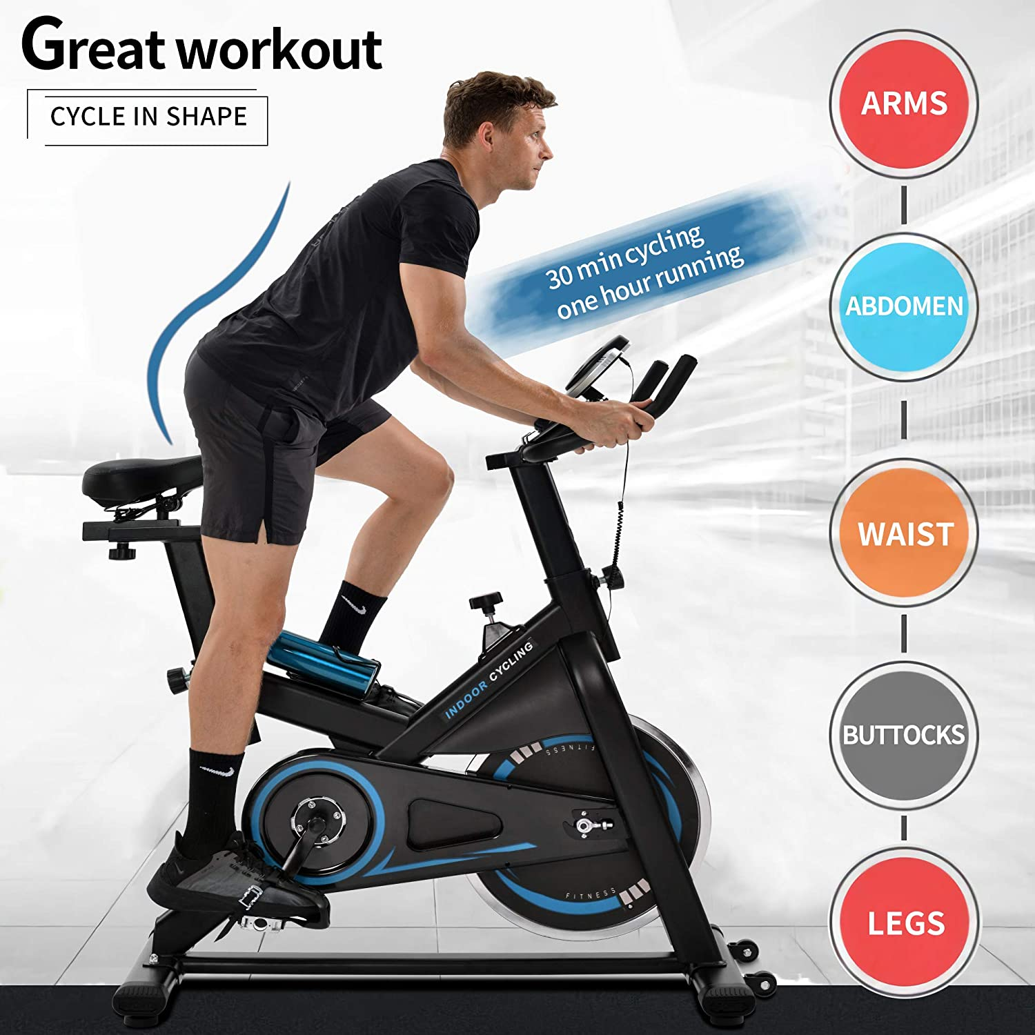Heart Monitor! Details about  /Upgrade 2-in-1 Stationary Bike Folding Indoor Exercise with APP