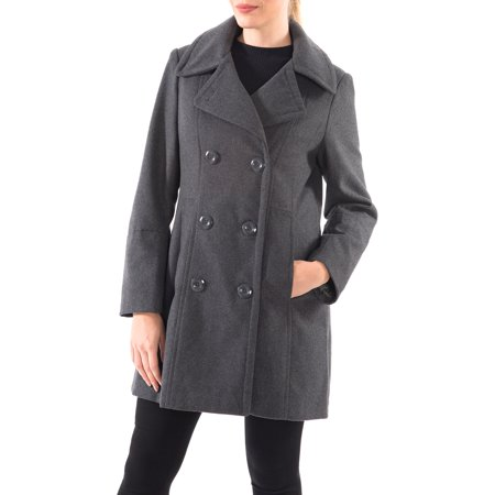 Alpine Swiss Norah Womens Wool Coat Double Breasted Peacoat Jacket Overcoat ()