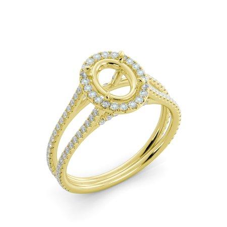 Split Shank Semi Mount (Oval Cut .82 Diamond Semi Mount Engagement Ring Halo Split Shank 18k Yellow Gold )