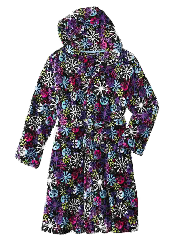 Joe Boxer Girl Black Fleece Snowflake Hoodie Bath Robe House Coat Shower Wrap